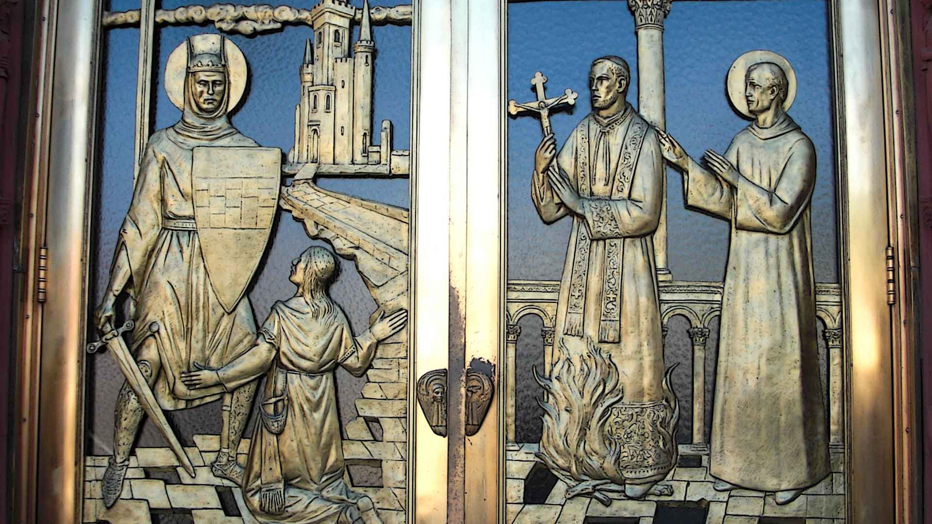 Detail Bronze Doors St John Gualbert Cathedral Johnstown PA